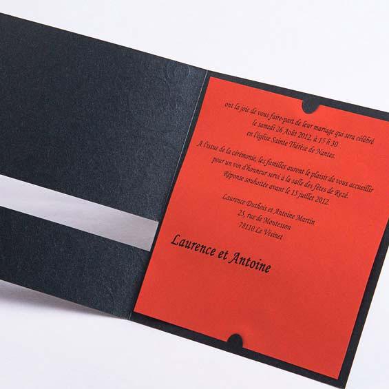 texte faire part mariage noir et rouge fleur dore pas cher jm120 flickr. Black Bedroom Furniture Sets. Home Design Ideas