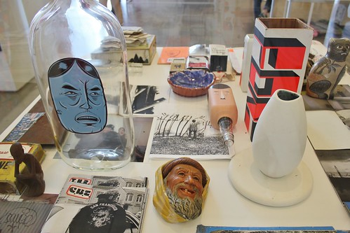 In the Contemporary Art Centre room, a mound of Barry McGee ephemera