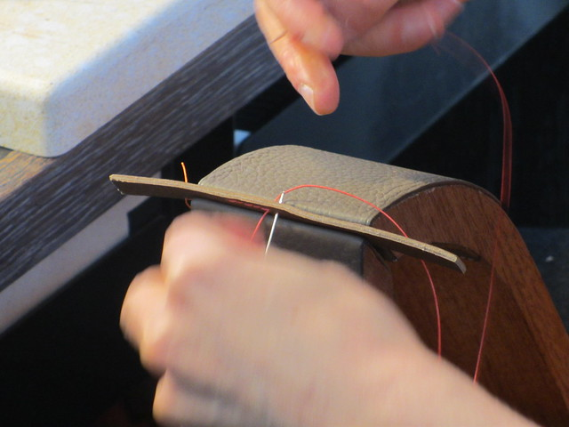 Double stitching leather