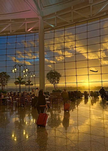 seattle travel sunset reflection building window glass wall architecture modern airplane washington airport nikon waiting dusk jet terminal structure luggage transportation wa tacoma airlines seatac silhoutte hdr blending luminosity centralterminal d700