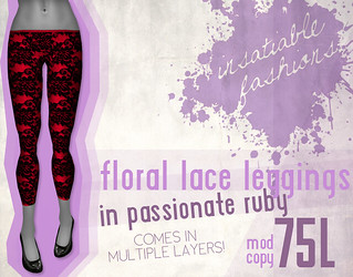 [IF] Floral Lace Leggings in Passionate Ruby
