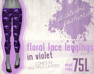 [IF] Floral Lace Leggings in Violet