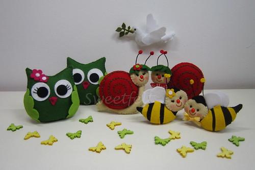 ♥♥♥ Animais do jardim para a Arca de Noé... by sweetfelt \ ideias em feltro