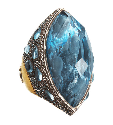 dolphin carved blue topaz ring