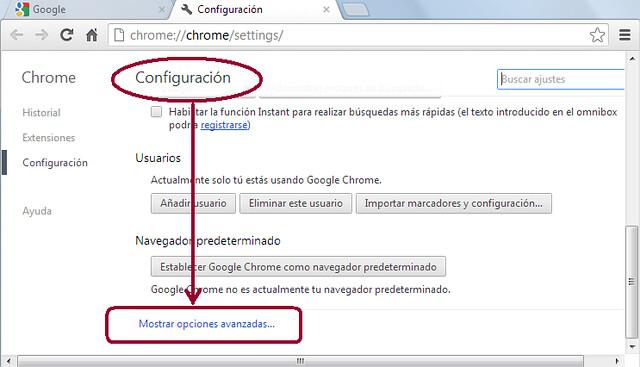 Mostrar opciones avanzadas Chrome