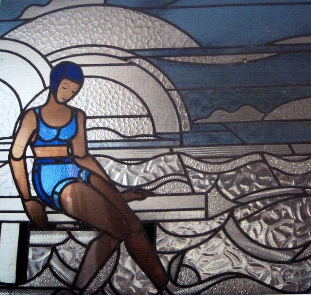 art deco stained glass of molitor swimming pool by louis. Black Bedroom Furniture Sets. Home Design Ideas