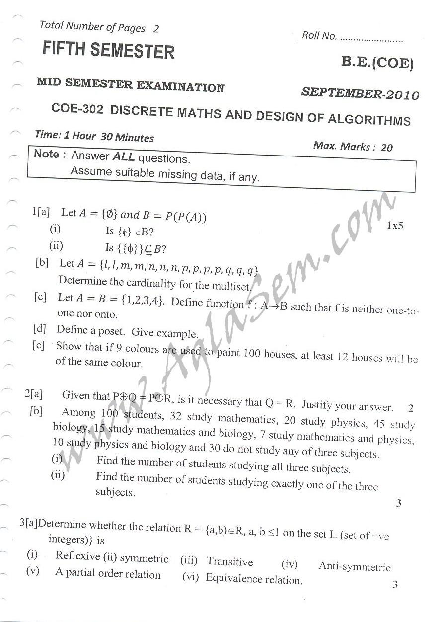 DTU Question Papers 2010 – 5 Semester - Mid Sem - COE-302
