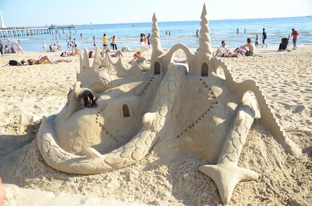 Dragon sand sculpture at St Kilda beach