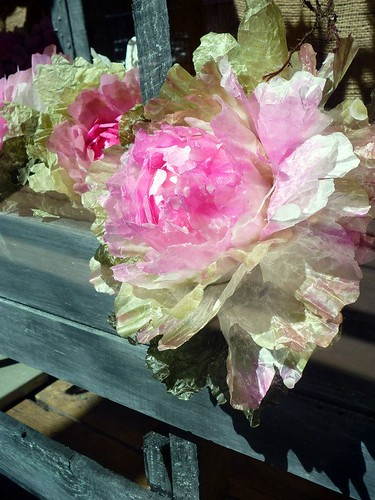 paper mache ornamental kale in window box