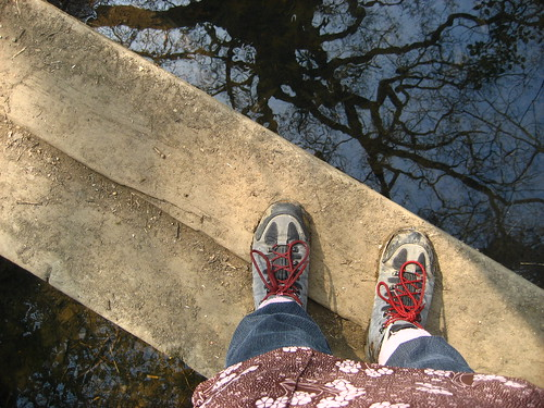 Walking on a little bridge