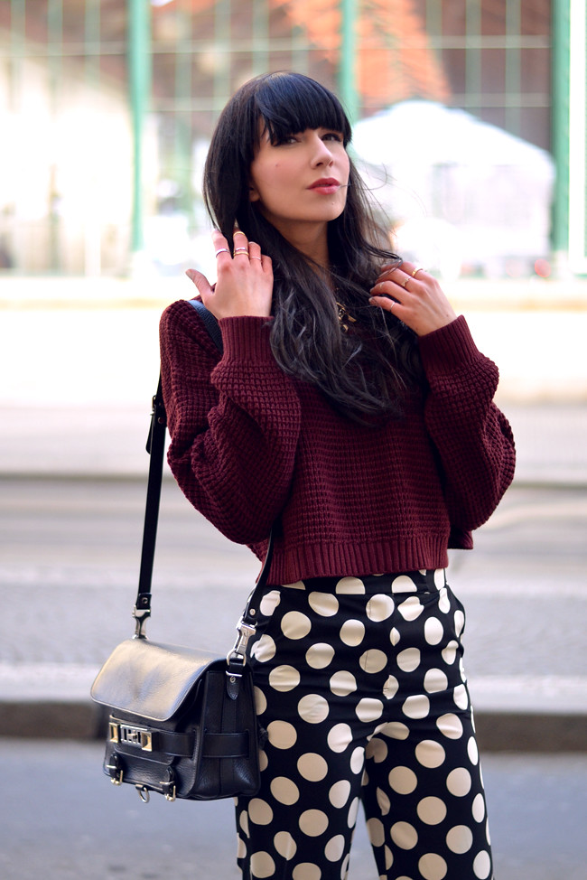 Topshop dots burgundy outfit blogger CATS & DOGS fashion blog 9