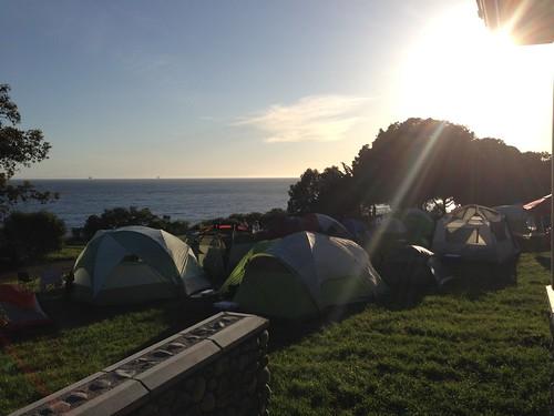 Tents at dusk