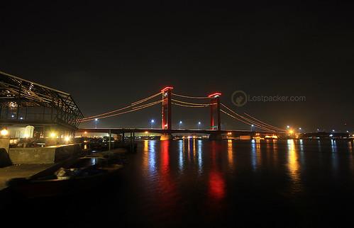 bridge sunrise indonesia ampera palembang