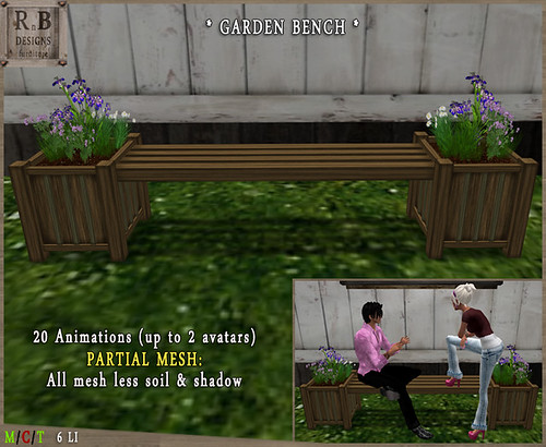 RnB Mesh Garden Bench 1-1 - 20 Anims (up to 2 avs)2