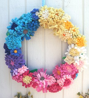 Rainbow flowers felt wreath