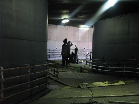 Maintenance work in Raging Rapids tunnel