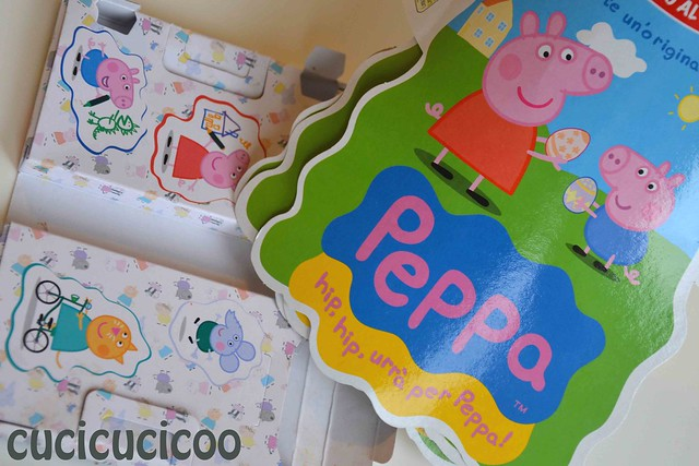 pieces from peppa pig easter eggs to cut up for homemade upcycled magnets