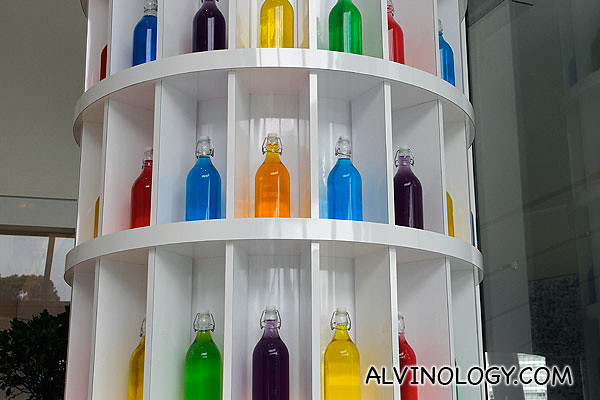 Colourful alkaline water on display