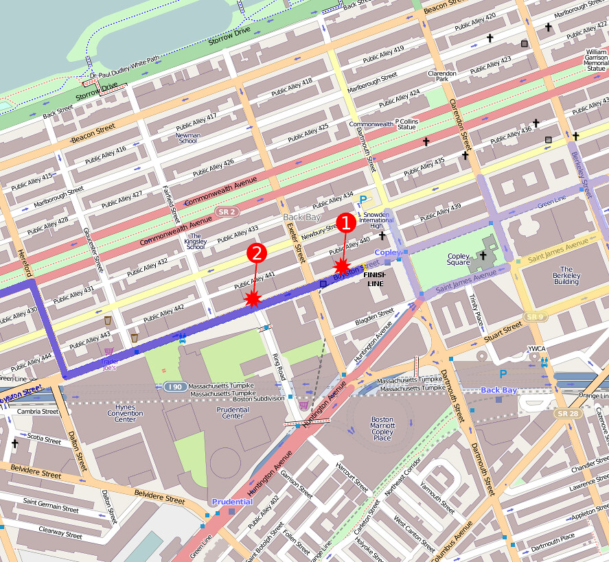 2013 Boston Marathon bombings map