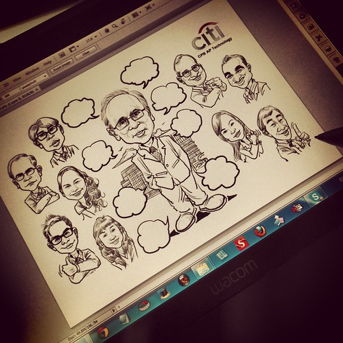 digital group caricatures for Citibank inking on Wacom Cintiq