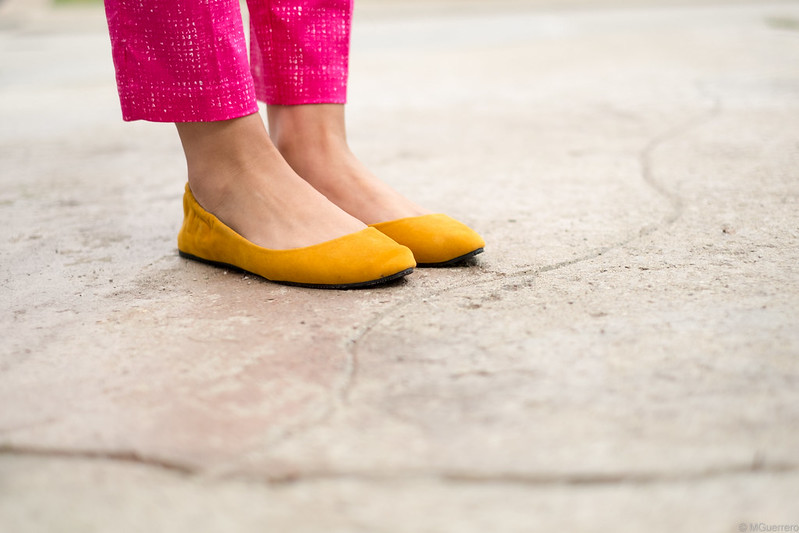 printed pants and yellow flats