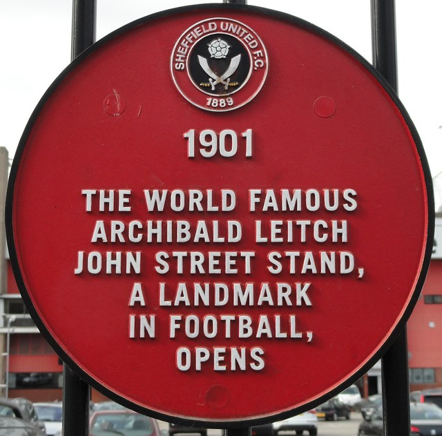 Photo of Archibald Leitch and John Street Stand red plaque