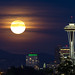 Full Moon Rise & Space Needle by jeramey