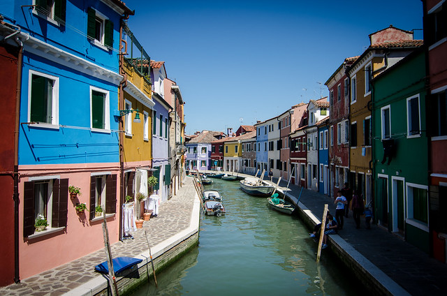 A rainbow of houses along the canals of Burano, just across the lagoon from Venice.
