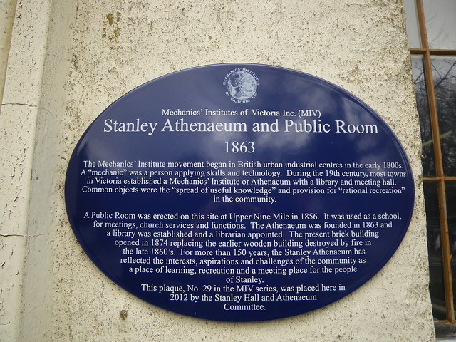 Photo of Stanley Athenaeum and Public Room blue plaque