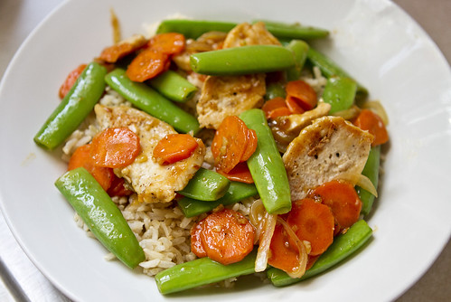 stir fry sugar snap peas carrots