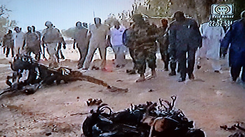 Niger bombing wreckage from May 23, 2013. French uranium interests and Niger military forces were attacked leaving over two dozen dead. by Pan-African News Wire File Photos