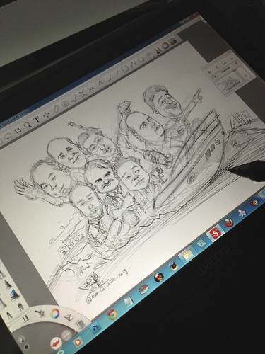 digital group caricatures for Bosch - pencil sketch