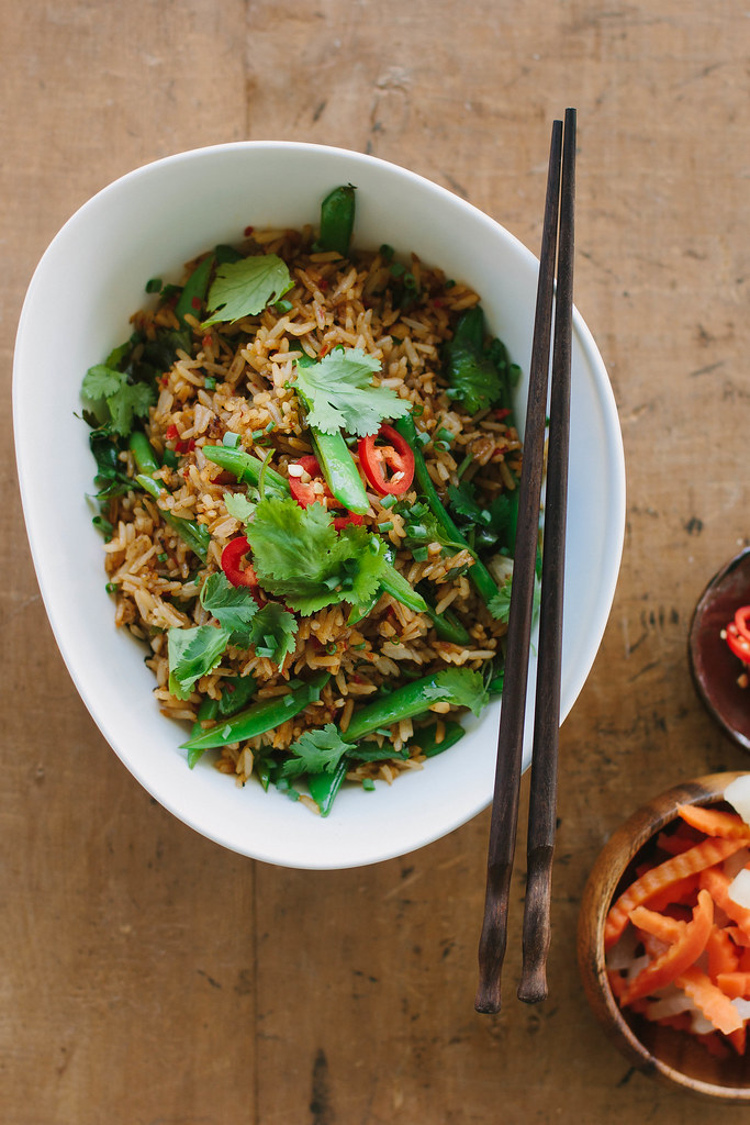 vegan fried rice with sugar-snap peas + chilli