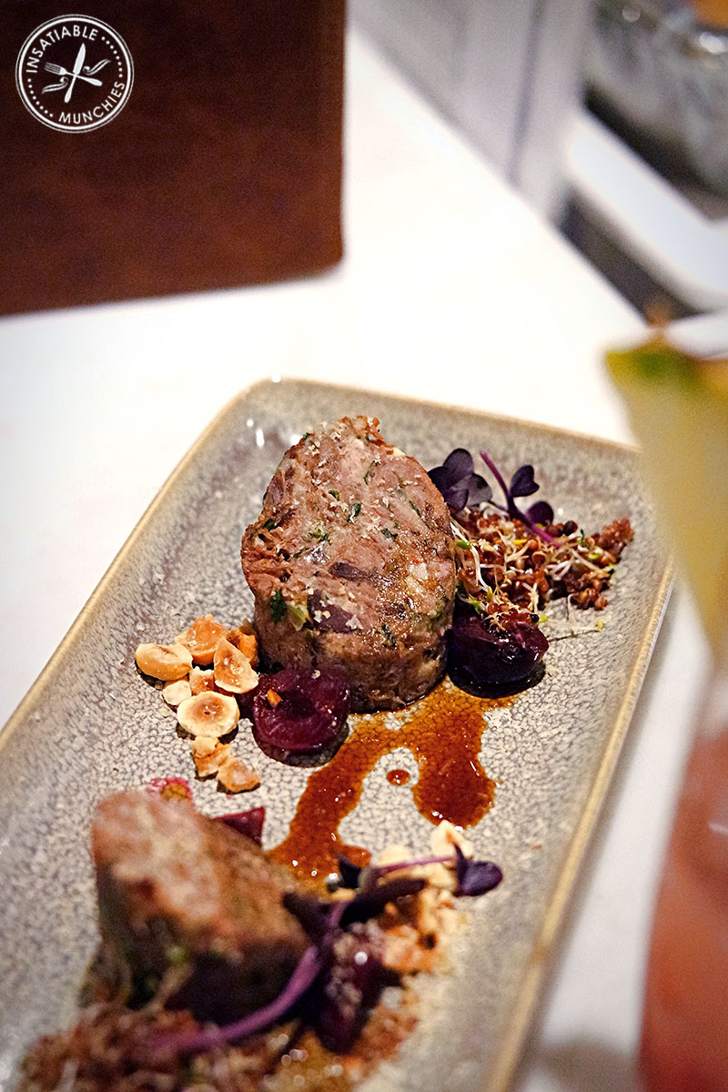 Alpaca Neck Terrine with Sour Cherries, Hazelnuts and Red Quinoa Sprout