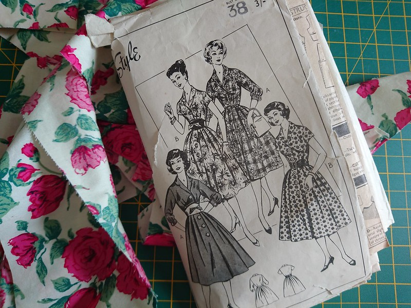 Vintage shirtdress sewing pattern and Liberty Carline fabric