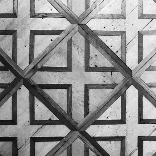 Wooden flooring in an ancient abbey, detail