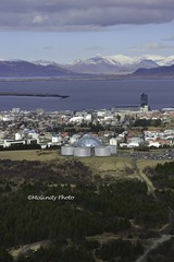 Bird's eye view of the Reykjavik Iceland Opera House overlooking the bay and Mountains