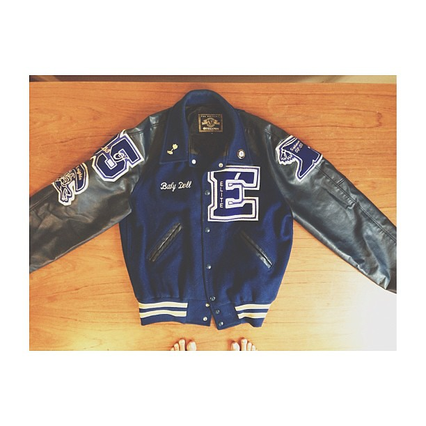 Found while unpacking! #blogged @iheartbueno #letterjacket #fivefacts