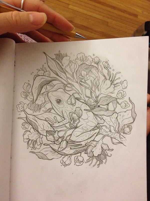 Frog sketch. April 3, 2013