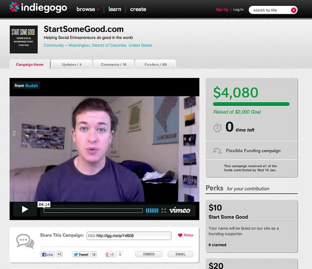 Indiegogo StartSomeGood Page
