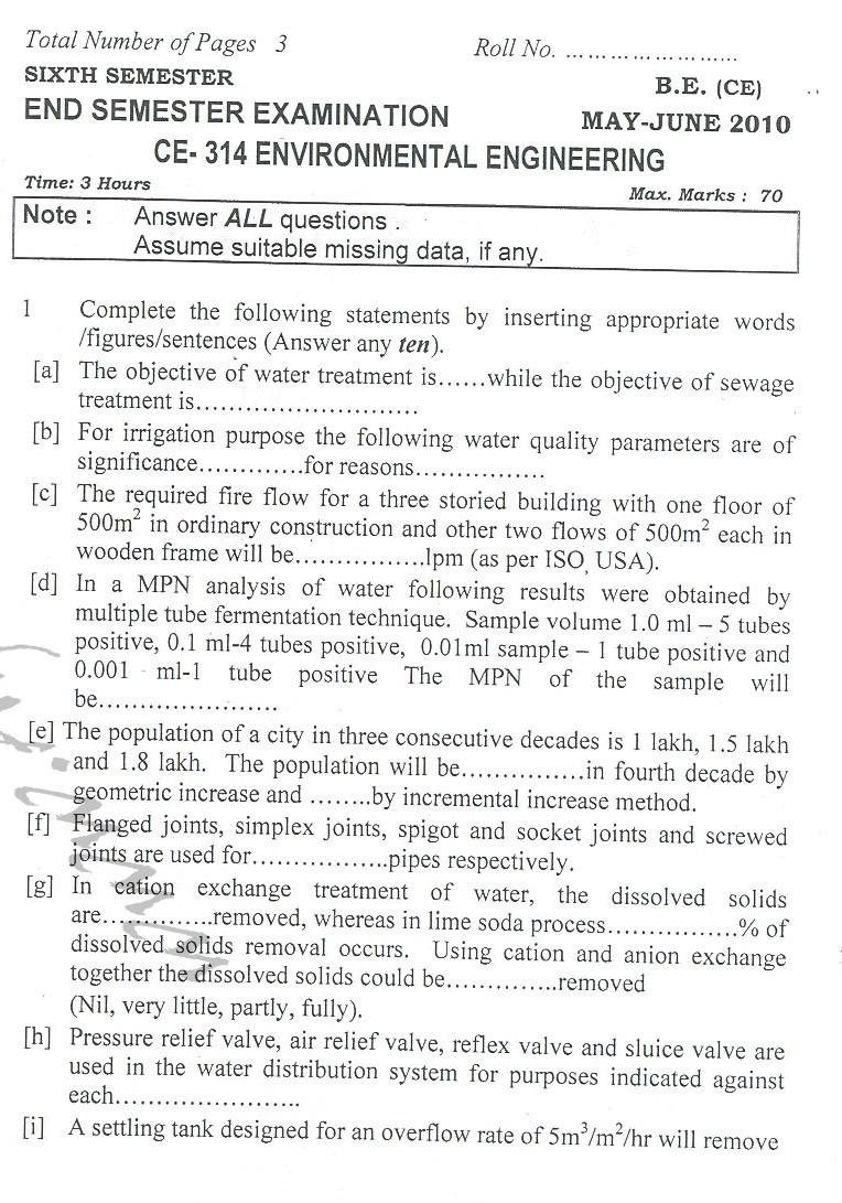 DTU Question Papers 2010 – 6 Semester - End Sem - CE-314