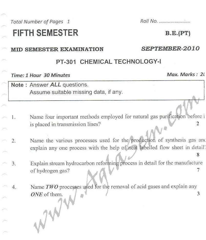 DTU Question Papers 2010 – 5 Semester - Mid Sem - PT-301