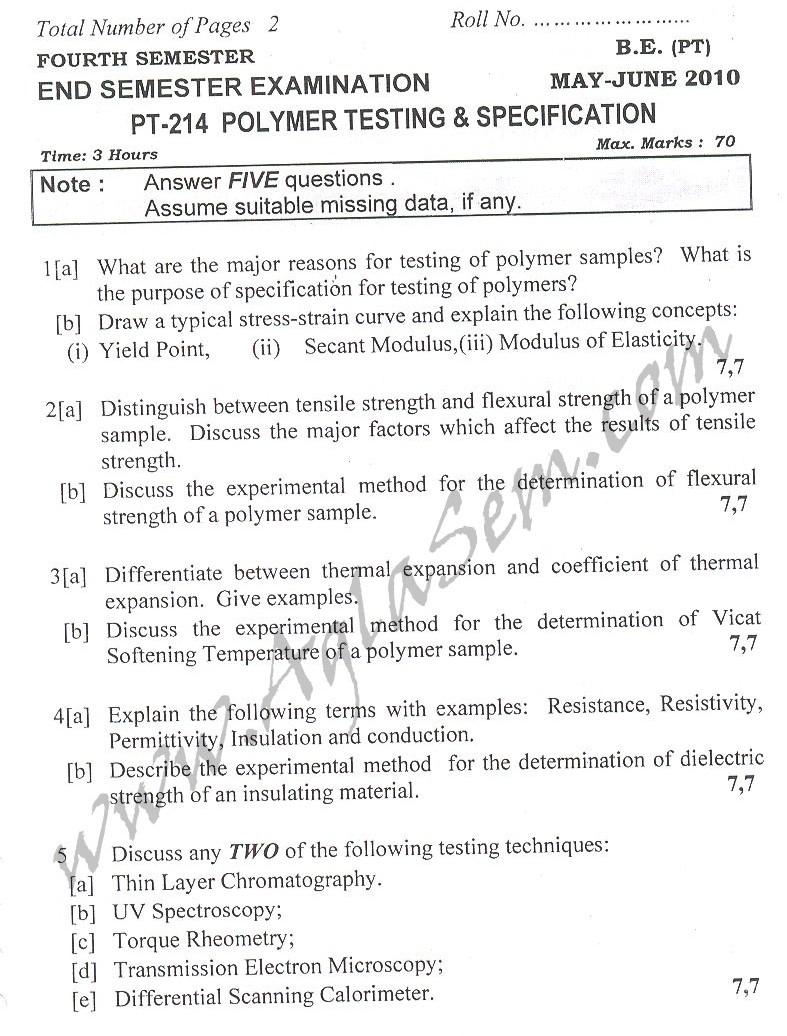 DTU Question Papers 2010 – 4 Semester - End Sem - PT-214