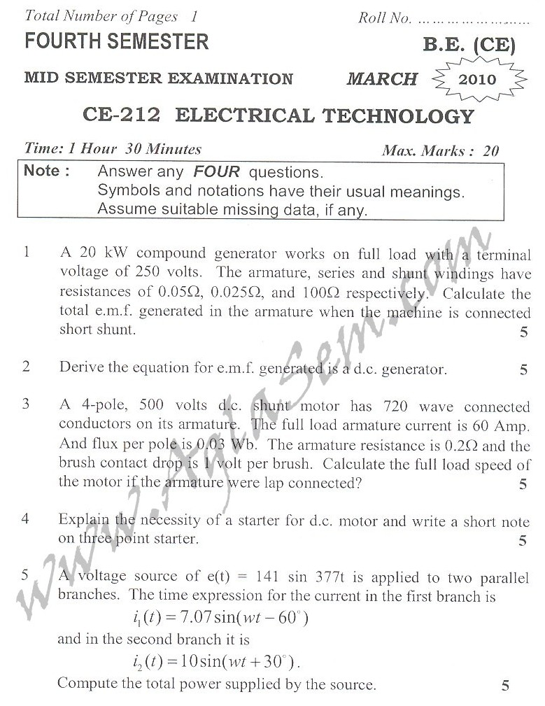 DTU Question Papers 2010 – 4 Semester - Mid Sem - CE-212