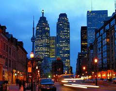 Toronto Flatiron building & skyscrapers dusk
