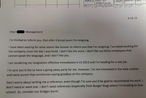 A whopper of a resignation