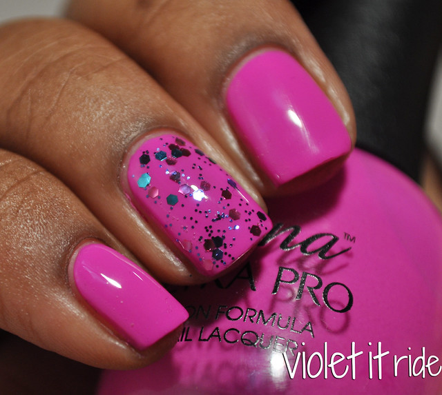 fuchsia cream with pink and blue glitter nail polish