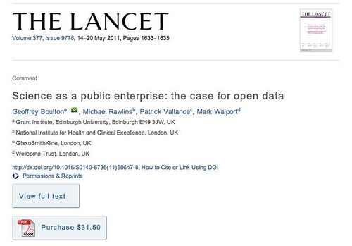 """Science as a public enterprise: the case for open data"" to find out more ""Purchase this article for $31.50"""