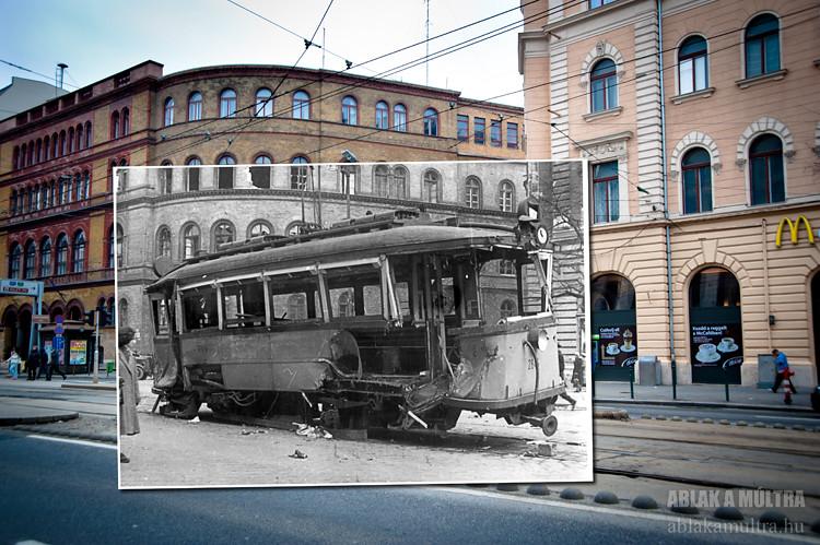 Budapest, VIII. Népszínház utca - József körút sarok, egykori ipari felsőiskola fortepan_31990