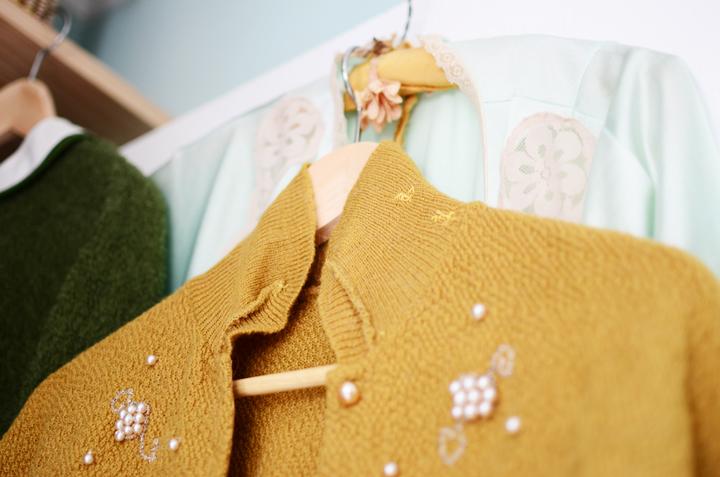vintage mustard cardigan f
